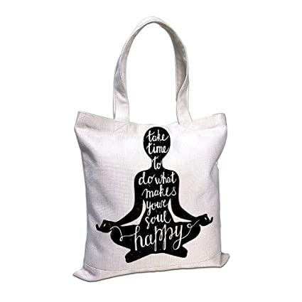 Amazon.com: iPrint Cotton Linen Tote Bag, Yoga,Black ...