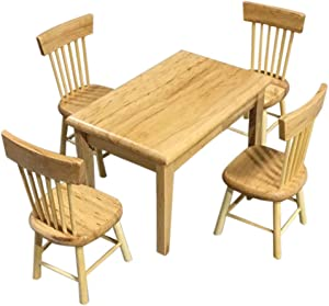 SXFSE Dollhouse Decoration Accessories,1:12 Dollhouse Miniature Furniture Wooden Color Dining Table Chair Model Set