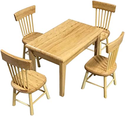Amazon Com Sxfse Dollhouse Decoration Accessories 1 12 Dollhouse Miniature Furniture Wooden Color Dining Table Chair Model Set Sports Outdoors
