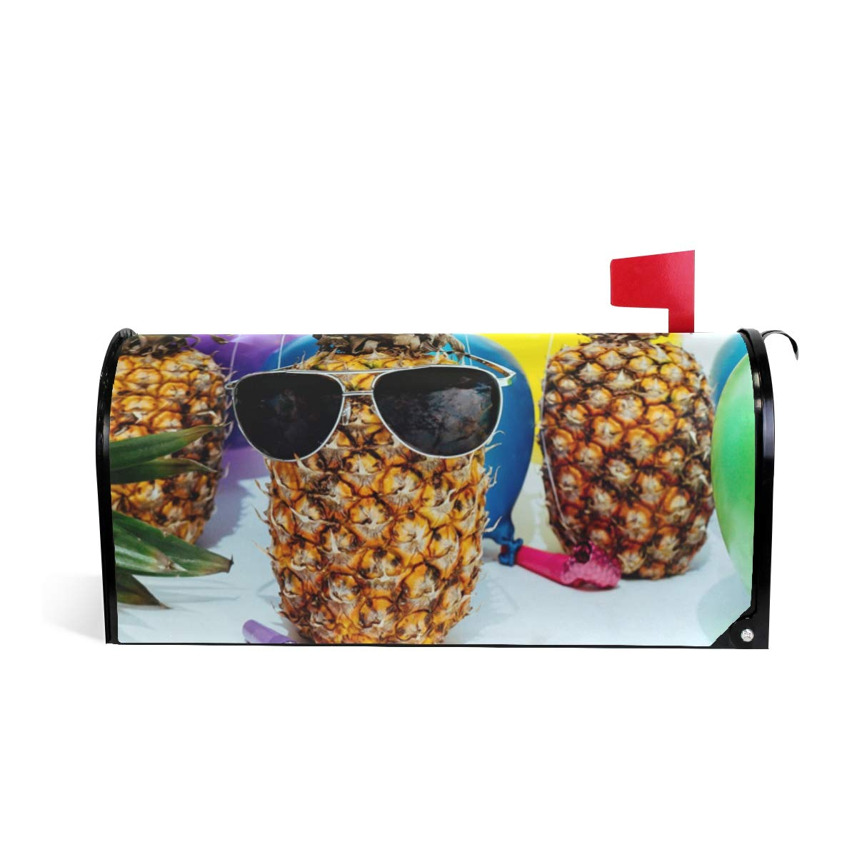 HEOEH Party Pineapple Sunglass Airball Magnetic Mailbox Cover Home Garden Decorations Oversized 25.5 x 20.8 inches