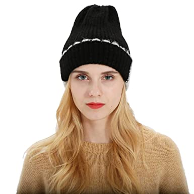 Leoy88 Women s Faux Wool Two-Color Stitching Hat Knit Hat Popular ... 47b019e0f02
