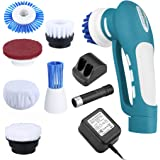 Finether Cordless Multi Purpose Household Power Scrubber with Rechargeable Battery, 7 Brushes