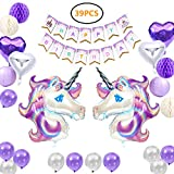 Unicorn Party Supplies, 39 Pack Birthday Banner Party Decorations for Girls with 2 Huge Unicorn Balloons, 1 Birthday Banner, 4 Pom Pom Balls, 4 Heart-shaped Balloons, 2 Lanterns and 12 Latex Balloons