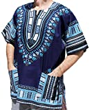 RaanPahMuang Unisex Bright Coloured African Dashiki Cotton Plus Shirt, XXX-Large, Midnight Blue