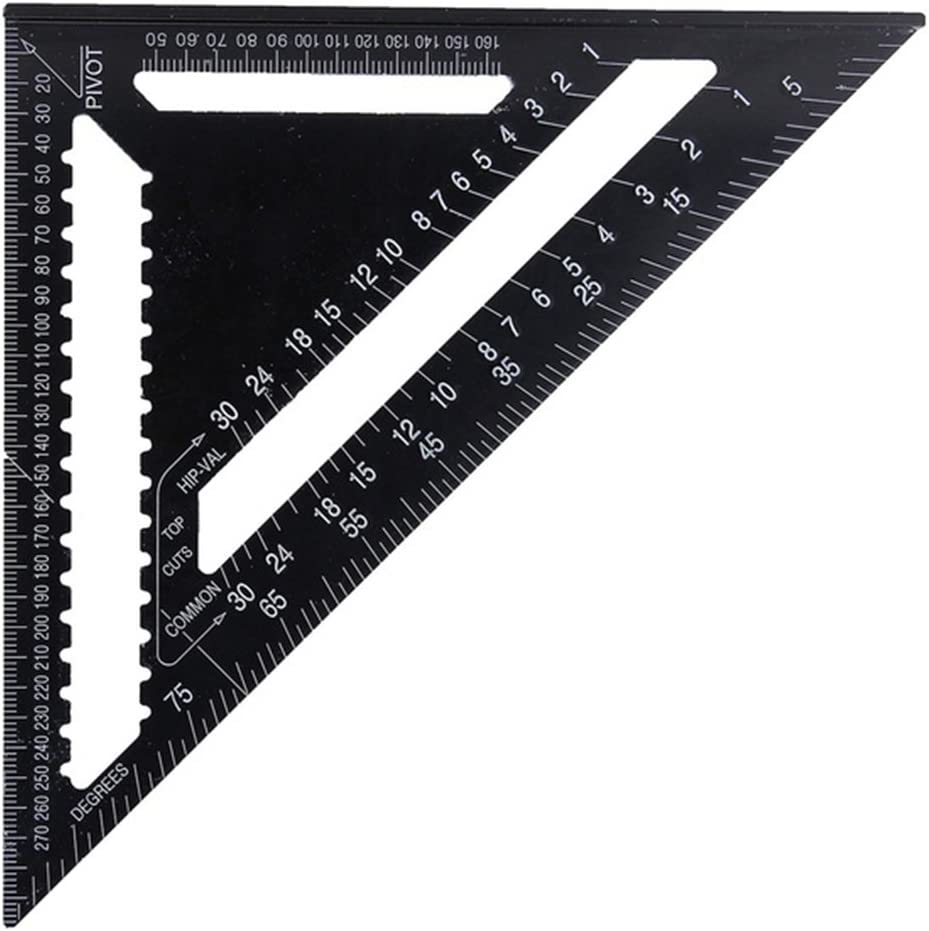 12 Inch Aluminum Alloy Triangle Ruler High Precisions Square Protractor Roofing Square Scale Speed Carpenter Framing for Engineer Carpenter