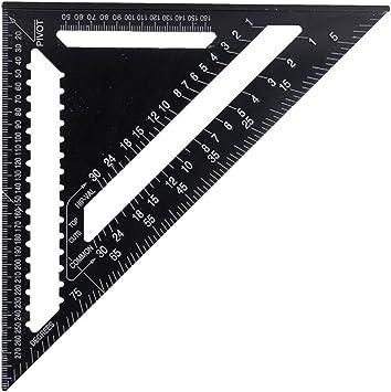 herramienta de medici/ón de alta precisi/ón para carpintero de ingenieros tri/ángulo Regla m/étrica triangular de aleaci/ón de aluminio velocidad cuadrada negro