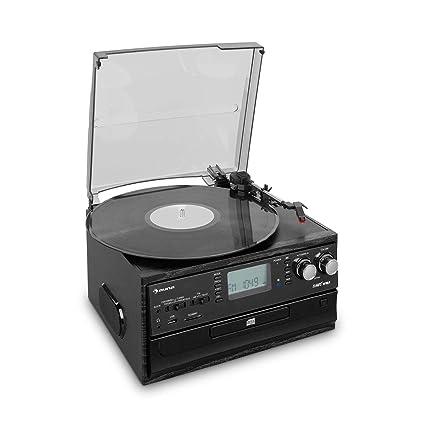 auna Oakland equipo estéreo retro - Bluetooth, tocadiscos, tracción por correa de 33/45/78 rpm., reproductor de CD, sintonizador de radio FM, pletina ...