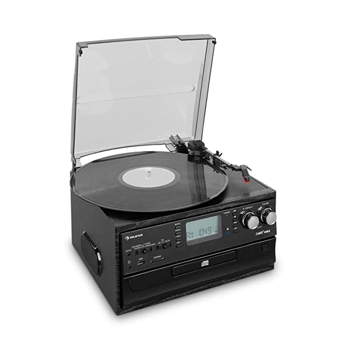 auna Oakland Dab Cadena estéreo - Reproductor de vinilos, CD y de Casete , Sintonizador de Radio Dab+/FM , Puerto USB y SD , Bluetooth , Transmisión a ...