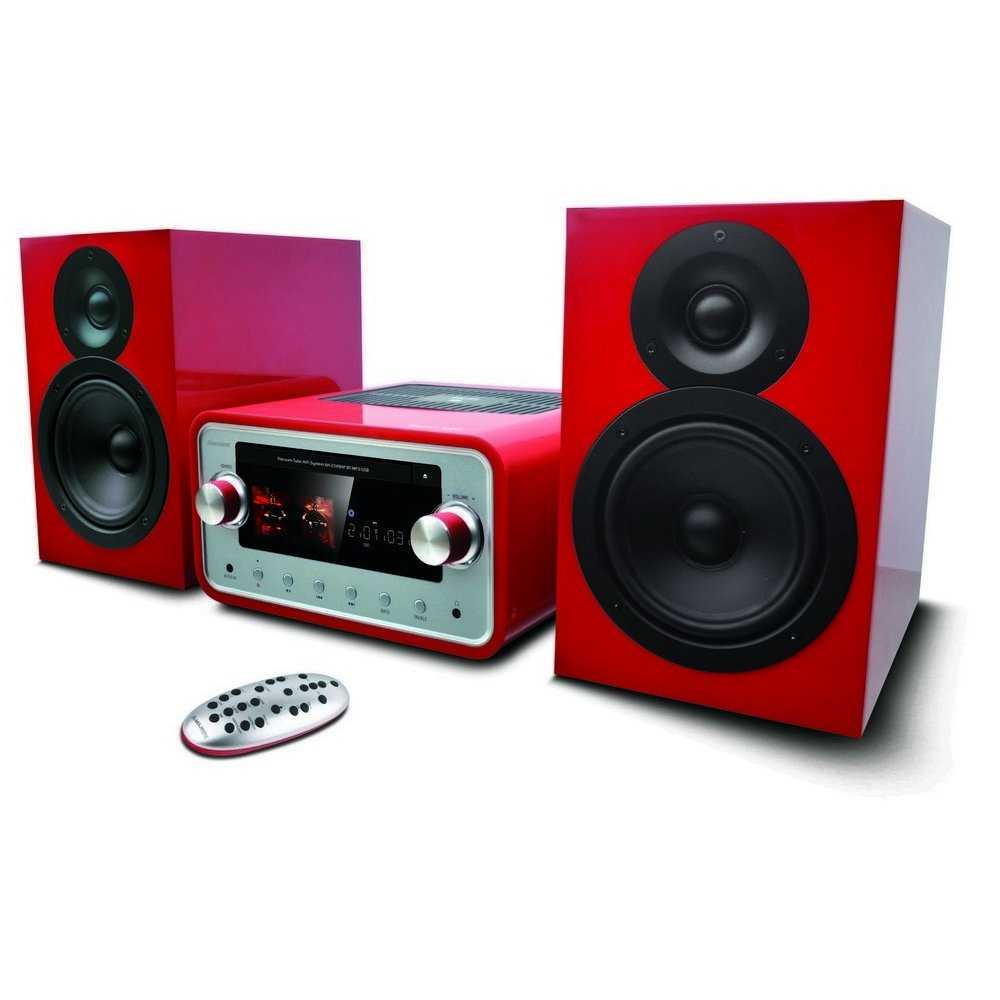 New Majestic AH-2349 HP Home Audio Micro System 100W Rojo - Microcadena (Home Audio Micro System, Rojo, Monótono, Frente, 100 W, FM,PLL)