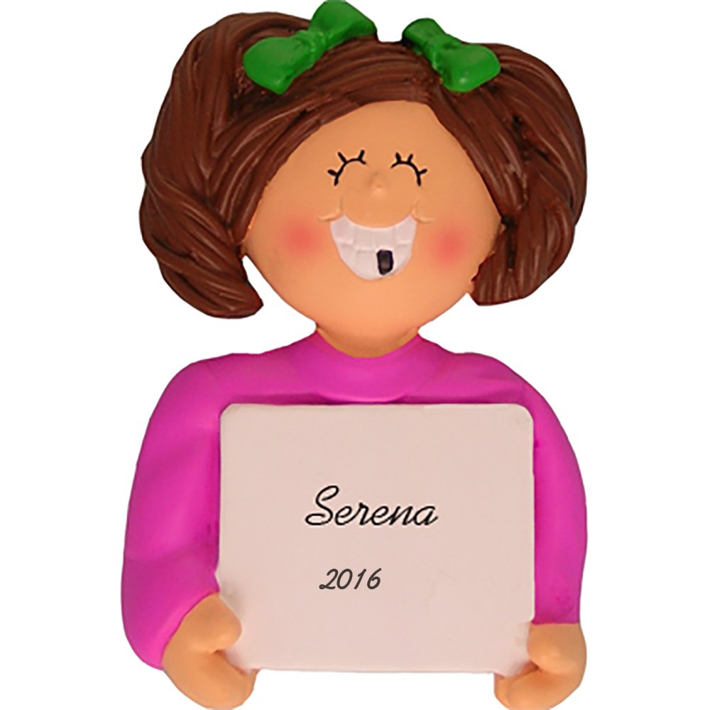 Lost A Tooth Personalized Christmas Ornament - Girl - Brown Hair - Handpainted Resin - 3'' Tall - Free Customization by Calliope Designs