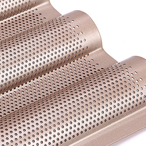 Chefmade Nonstick Professional Perforated Baguette Oven Toaster Pan Bakeware 4 Wave Loaves for French Bread 4 Gutters Champagne Gold by Chef Made (Image #4)