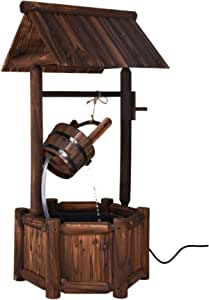 S AFSTAR Wishing Well Water Fountain, Rustic Wood Outdoor Waterfall Fountain with UL Certificated Electric Pump for Garden Backyard Decoration