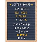 Aukronic Changable Felt Letter Board with 720 Letters, Numbers & Symbols, Changeable Wooden Message Board Sign, Oak Wood Frame,Wall Mount, With Free Canvas Bag (Grey, 12x16 Inch)