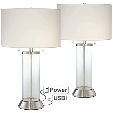 Fritz Coastal Table Lamps Set Of 2 With Usb And Ac Power Outlet In Base Glass Column Drum Shade For Living Room Possini Euro Design
