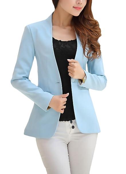 Blazer Mujer Chaqueta Cazadoras Abrigos Elegantes Primavera Otoño Negocios Oficina Cortos Manga Largo Colores Sólidos Casual Camisas Slim Fit Ropa Retro: ...