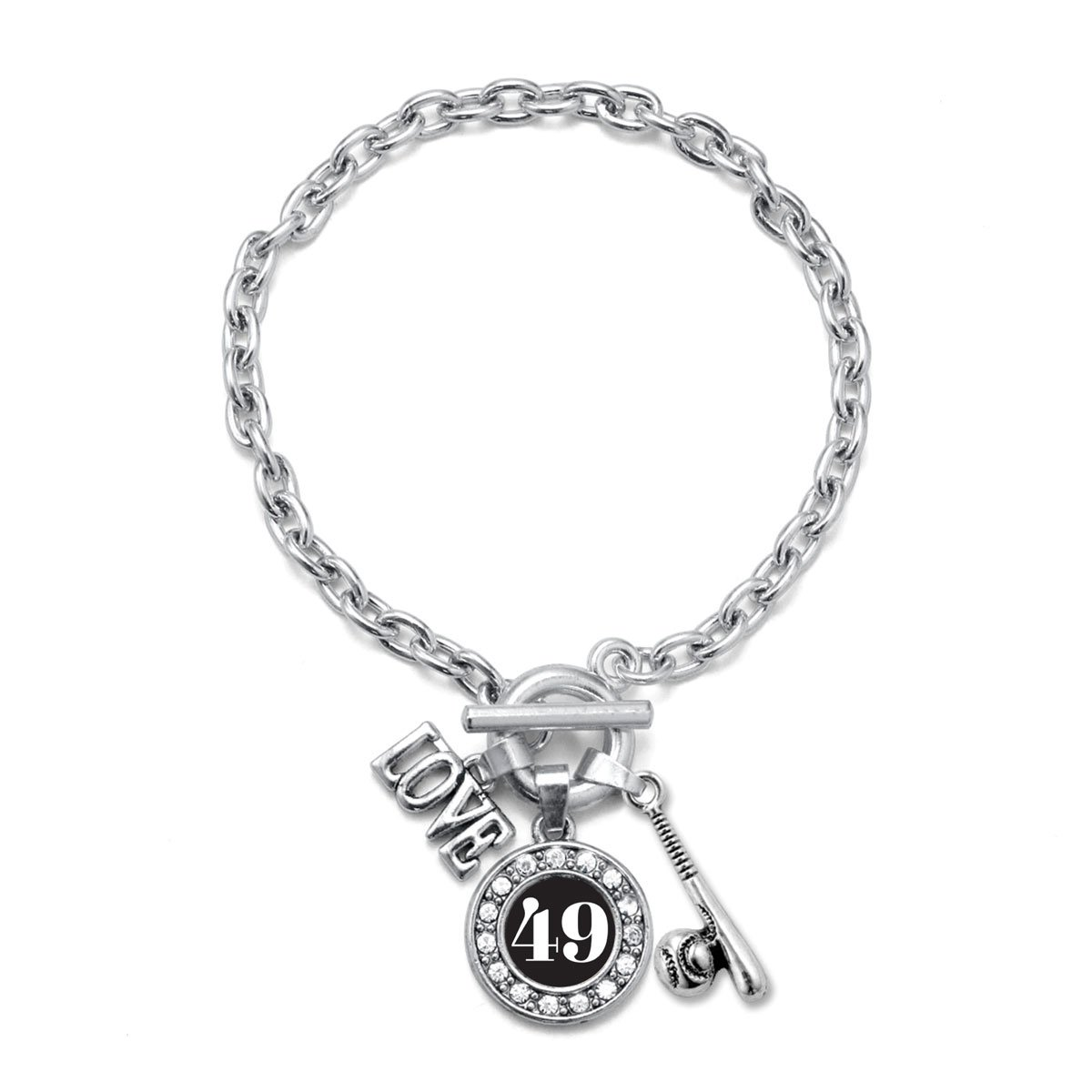 Number 49 Inspired Silver My Sports Number Circle Charm Baseball Bat Toggle Charm Bracelet