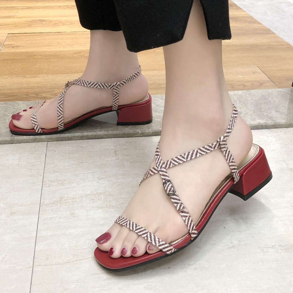 Bohelly ♚♚ New Womens Roman Sandals,Ladies High Heel Shoes Belt Buckle Open Toe Summer Sandals Large Size