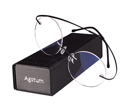 3dfcc00001 Agstum Pure Titanium Round Prescription Rimless Glasses Frame 46mm (Black