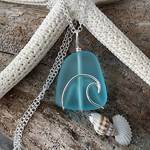 Glass Wire Wrapped Pendant (Handmade in Hawaii, wire wrapped ocean wave blue sea glass necklace, sterling silver chain, Hawaiian Gift, FREE gift wrap, FREE gift message, FREE shipping)