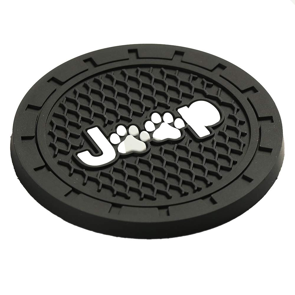 Lipctine 2 Pack 2.75 Inch Soft Rubber Pad Set Round Auto Cup Holder Insert Drink Coaster fit for BMW Ford Chevrolet Silverado for Jeep Wrangler Liberty Grand Cherokee