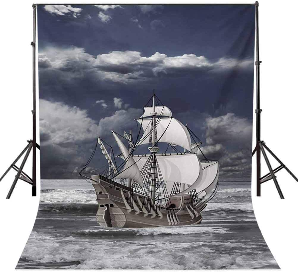 Landscape 6.5x10 FT Photography Backdrop Cloudy Sky Caribbean Pirates Ship Oil Print Like Art Image Background for Baby Shower Bridal Wedding Studio Photography Pictures Blue Grey Pale Grey and Whit