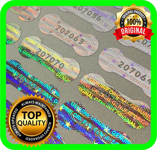 (Holomarks 1150 pcs Security hologram labels, void warranty stickers tamper evident seals Dogbone with serial numbers .78 x .27 inches)