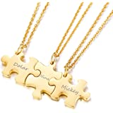 Mealguet Jewelry Gold Plated Stainless Steel Three Puzzle BFF Best Friend We Will Always be Connected Friendship…