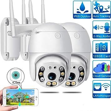 Cámara de vigilancia exterior WiFi 1080P domo IP PTZ, IP65 ...