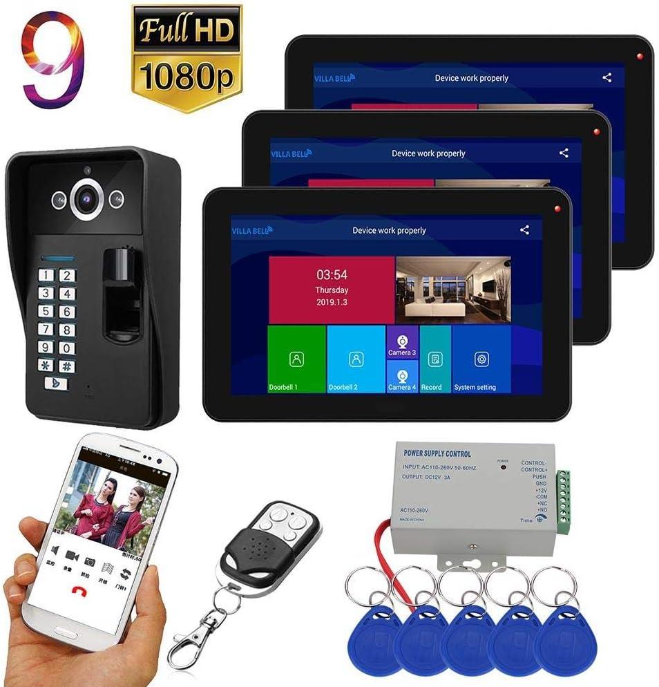 DYWLQ9 pulgadas inteligente Wifi inalámbrico de huellas dactilares Videoportero Timbre de la puerta Sistema de intercomunicación con 3 monitores,vista nocturna1080P, Desbloqueo remoto, Grabació