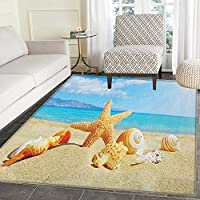 Seashells Non Slip Rugs Summer Beach Theme and Sand with Rays in the Sky Clouds Seaside Marine Door Mats for inside Non Slip Backing 5x6 Aqua Ivory Mustard