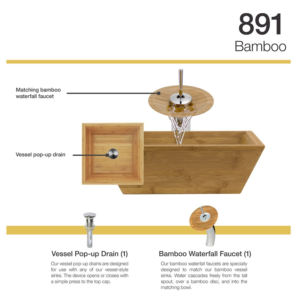 891 Bamboo Vessel Sink Chrome Bathroom Ensemble with Waterfall ...