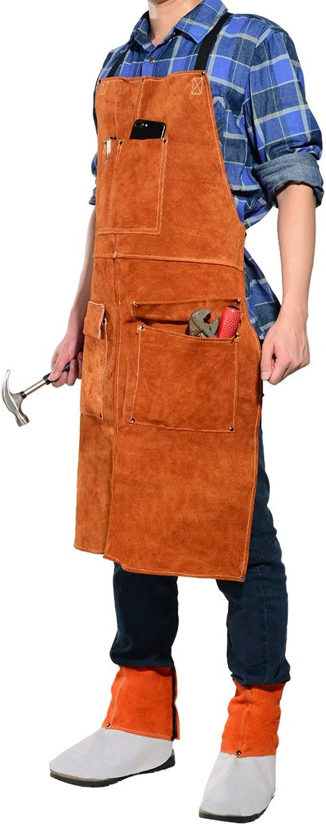 Cowhide Leather Welding Work Apron,Heat Resistant/&Flame Resistant