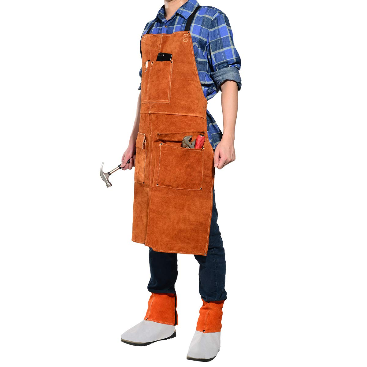LEASEEK Leather Welding Work Apron - Heat Resistant & Flame Resistant Bib Apron, Flame Retardant Heavy Duty BBQ Apron, Adjustable One Size Fit Most - 24'' X 36'',Brown (Brown)