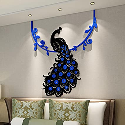 Wall Stickers Witspace Sticker Peacock DIY 3D Acrylic Crystal Living Room Bedroom