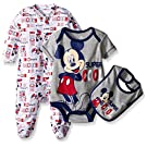 Disney Baby Mickey Mouse 3 Piece Layette Set, White, 0-3 Months