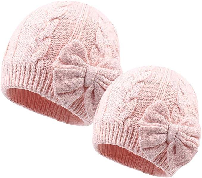 Amazon.com: Gorro de punto cálido de invierno para niñas con ...