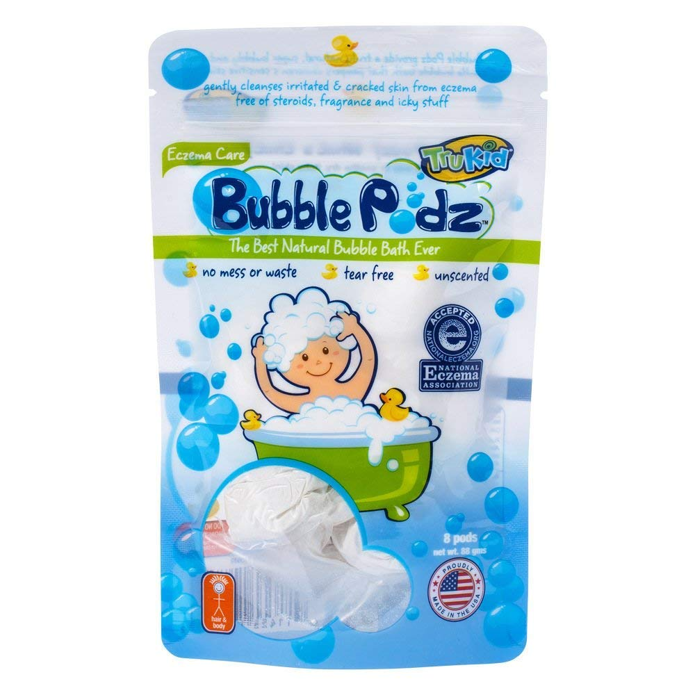 TruKid Bubble Podz, 24-Count, Unscented, Kids Bubble Bath for Sensitive Skin, Soothing Skin (Eczema), Bath Bubbles in Water Soluble Pods, Pediatrician, Dermatologist Tested, Toddler/Baby Bubble Bath