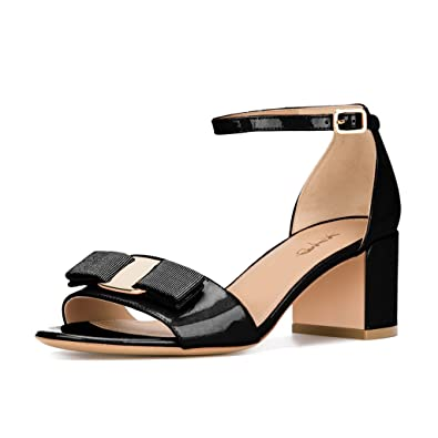 e07881fad9cb XYD Prom Party Open Toe Ankle Strap Sandals Patent Low Block Heel Dress  Pumps with Bows
