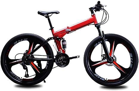 KNFBOK bicis de montaña mujer Bicicleta para adultos de 21 velocidades, bicicleta plegable de montaña, marco de acero grueso, velocidad de 26 pulgadas, doble choque, rueda de tres cuchillas, amarillo rojo: Amazon.es: