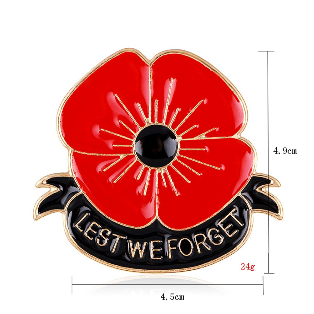 Amazon Lest We Forget Poppy Brooch Pin Flower Broach Memorial