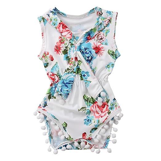 3490237153dc Amazon.com  Miwear 0-18M Baby Girls Summer Clothes Floral Tassel ...