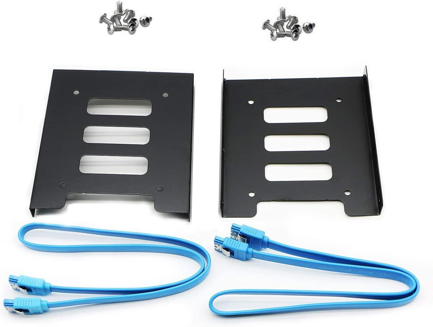 "Pasow 2 Pack 2.5"" to 3.5"" SSD HDD Hard Disk Drive Bays Holder Metal Mounting Bracket Adapter for PC (Bracket + Blue Sata III Cables)"