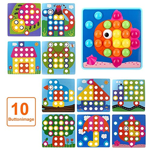 NextX Button Art Toy Color Matching Mosaic Pegboard Early Learning Educational Preschool Games for Kids' Motor Skills (Pink) by NextX (Image #2)