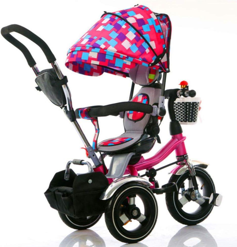 HBSC Triciclo de niños Trike, Rotación de 360 ° del Asiento, Putter Desmontable y Gran Canasta de Almacenamiento, Apto para IR de Compras y Viajar, Apto para 1 Mes - 6 años 1bicycle Regalo Pink