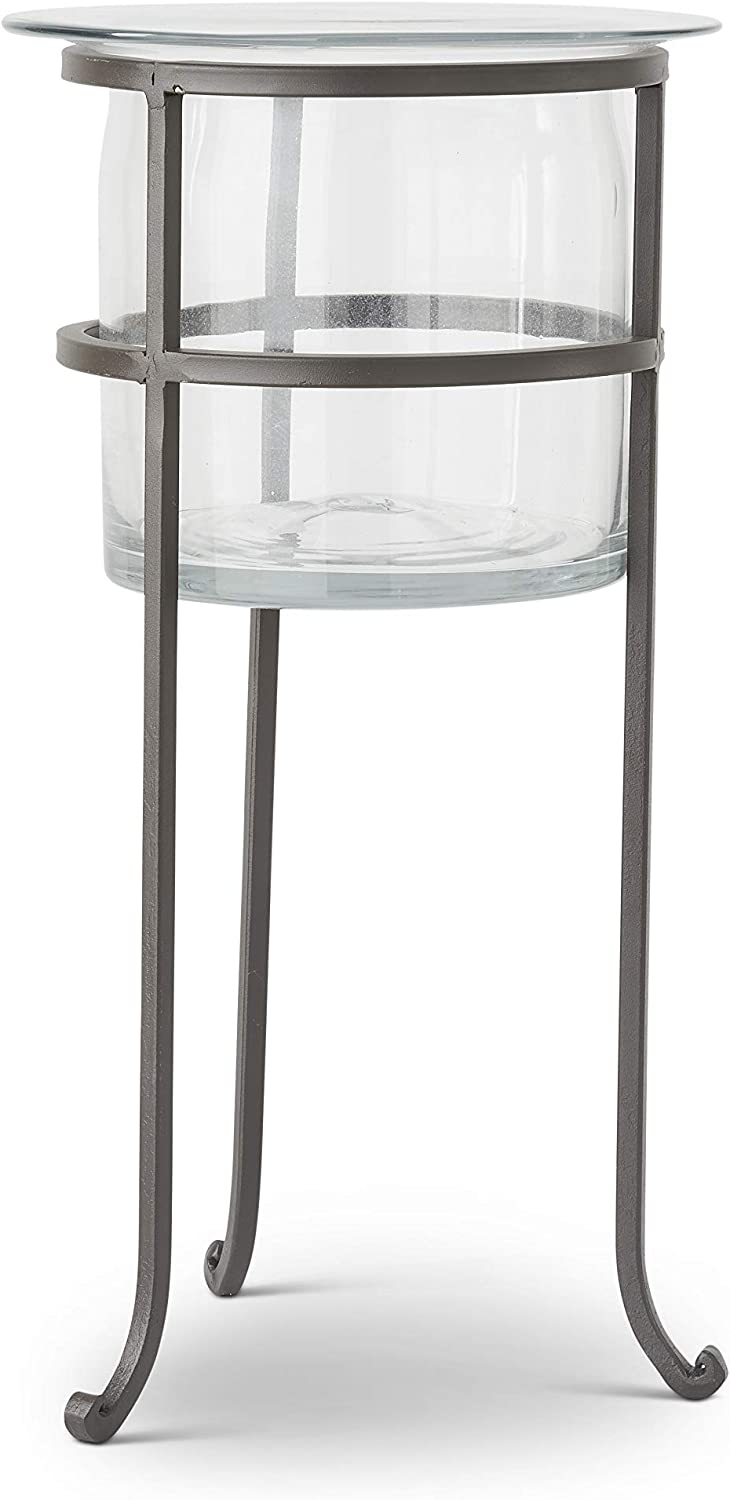 K&K Interiors 16008A-2 18 Inch Clear Glass Vase On Dark Metal Stand