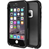 Eonfine iphone 6/6s Waterproof Case, Shockproof Protective Full-sealed Hard Cover with Clear Sound, Underwater IP68 Certificated Water Snow Dust Dirty Proof Case for iPhone 6/6s Black