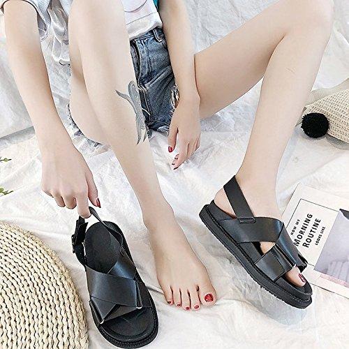 verano mujer Zapatos planas PU de sandalias tacón de de Black negro confort 5Tw0wXgqxr