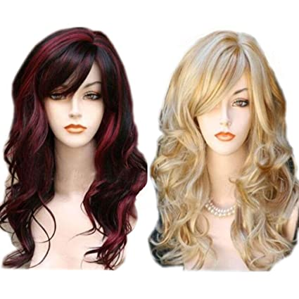 Peluca rubia - Onda natural sintética pelo largo y rizado Flequillo flequillo para mujeres Cosplay Party