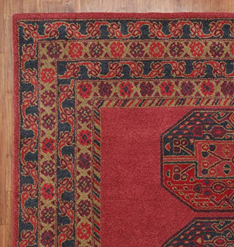 Fontana Red Traditional Persian Style Handmade Tufted 100% Woollen Area Rugs & Carpet (5x8 ft - 150x245 cm)
