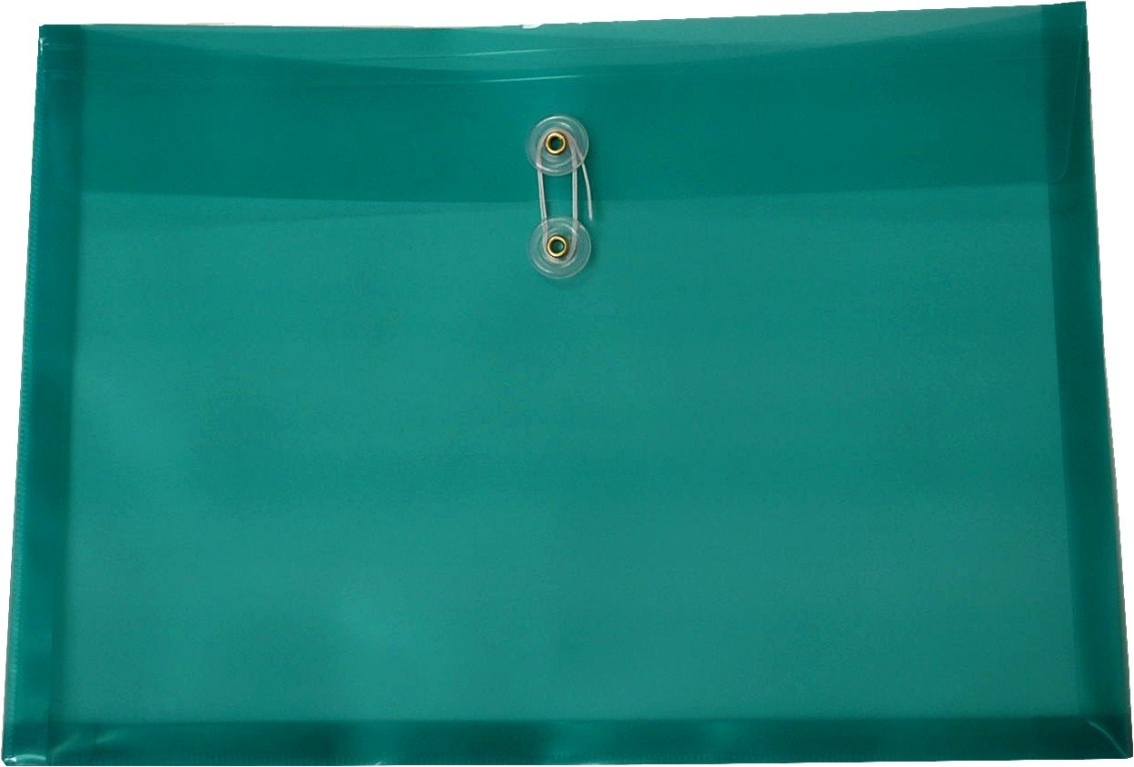 Filexec Poly envelope, Legal size, Side load, Button string closure, Green (Pack of 6) (50070-15105)